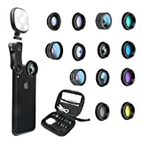 Godefa Phone Camera Lens Kit, 14 in 1 Lenses with Selfie Ring Light for iPhone Xs, Xr,8 7 6s Plus, Samsung and other Andriod Smartphone, Universal Clip on Wide angle+Macro+ Zoom Camera Lenses and More (Color: 14 in 1 phone lens, Tamaño: 14 in 1 phone lens)