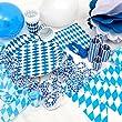 OKTOBERFEST - 65. tlg. Party Set Bavaria f�r 10 Personen im wei� blauen Rauten Design - Dekoration im bayrischen Stil