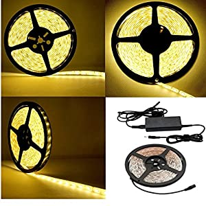 Besdata Waterproof Ultra Bright 16.4 ft 5 Meters DC 12V 5050 SMD 300 Leds Strips Light Kit+ 12V,6A Power Supply Adapter UK Plug for Indoor Office Home Aircraft Cabin Decorative - Energy Saving - CE Approved - Warm White - PL706A_UK from Besdata