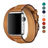Apple Watch Band 38/42mm Leather Double Tour iwatch Strap Replacement Band with Stainless steel Adpter Clasp for Iphone Watch Series 3 Series 2 Series 1,Sport Edition ,Men Women (Brown, 38mm)