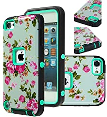 buy Ipod Touch 5 Case, E Lv Ipod Touch 6Th Gen Case Cover Hybrid Armor Protection Defender Case Cover For Apple Ipod Touch 5 / 6 - [Flower/Mint]
