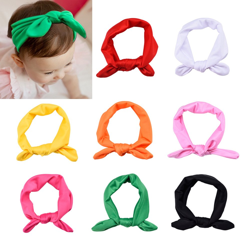Blulu Baby Girl Bow Hairband Turban Knot Rabbit Headwear Headbands (8 Pack)