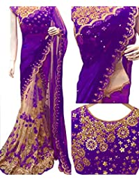Isha Enterprise Georgette Purple And Cream Thread Work Designer Saree