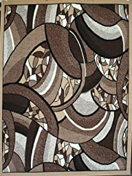 Generations Brand New Contemporary Brown and Beige Modern Square and Circles Area Rug 5\'2 x 7\'3