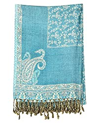 Party Wear Viscose Stole Blue 80x28 Paisley Self Weaved shawl By Rajrang