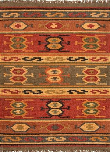 Jaipur RUG100272 Flat-Weave Tribal Pattern Jute Area Rug, 2' by 3', Red/Yellow