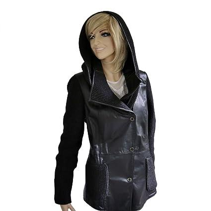 Lederjacke - D/F-859 Damen Jacke schwarz mit Strick Lammnappa Echtleder