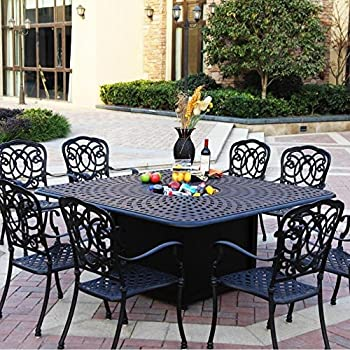 Darlee Florence 9 Piece Cast Aluminum Patio Fire Pit Dining Set - Dining Table With Ice Bucket Insert - Antique Bronze