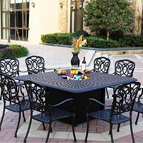 Darlee Florence 9 Piece Cast Aluminum Patio Fire Pit Dining Set - Dining Table With Ice Bucket Insert - Antique Bronze 0