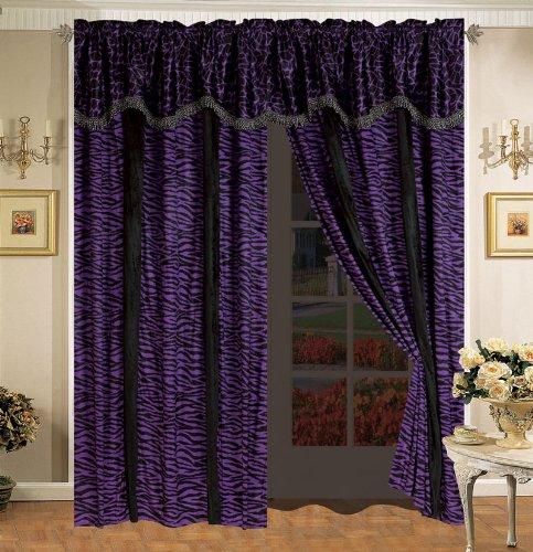 Safari Purple And Black Micro Suede Curtain Set front-911701
