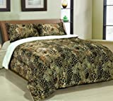 61qXDcUujuL. SL160  Leopard Cheetah Down Alternative Sherpa Comforter, Queen Borrego Blanket