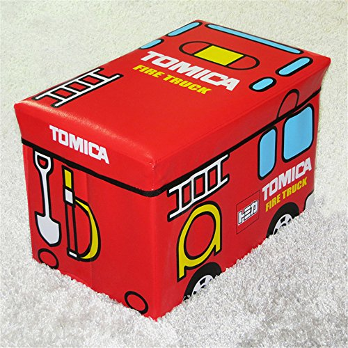 "Home Basics Folding Storage Ottoman Bench Seat (TOMICA Fire Truck, L Size 19.25x12.25x12.25"")"