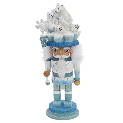 Kurt Adler 15-Inch Icy Blue and White Hollywood Polar Bear Helmet Nutcracker with Faux Rhinestone Crystals by Kurt Adler