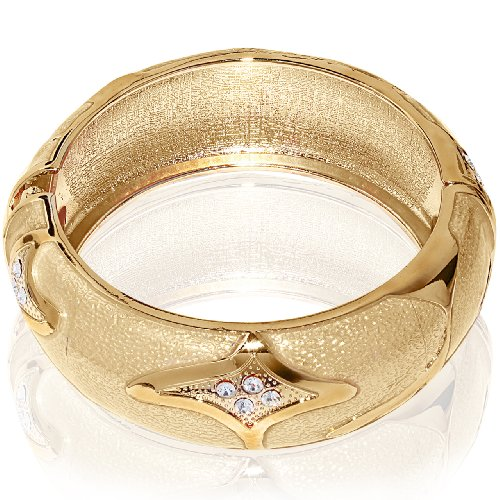Hinged Bangle Bracelet-Yellow Gold Color with CZ stones & metal accent