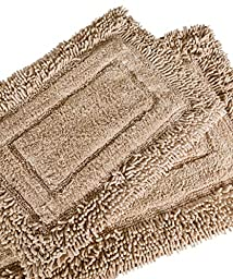 Trade Linker 2-Piece Savoy Shaggy Bath Rug Set, 21 by 34-Inch, Linen