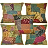 Ethnic Indian Jogi Embroidered Cotton Cushion Cover Adorn With Patch Work 16 X 16 Inches