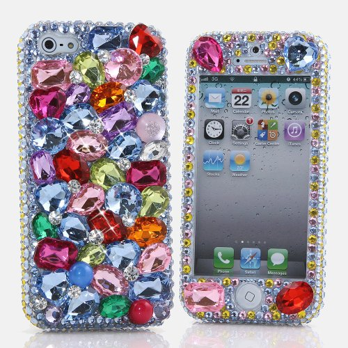 Special Sale BlingAngels® 3D Luxury Bling iphone 5 5s Case Cover Faceplate Swarovski Crystals Diamond Sparkle bedazzled jeweled Design Front & Back Snap-on Hard Case + FREE Premium Quality Stylus and Water-Resistant Bag (100% Handcrafted by BlingAngels) (Rainbow Color Stones)