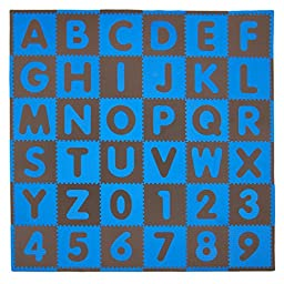 Tadpoles 36 Sq Ft ABC Floor Mat, Blue/Brown