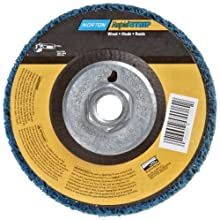Norton Non-Woven Depressed Center Rapid Strip Wheel, 4-1/2&#034; Diameter, 5/8&#034;-11 Arbor Hub, Grit Coarse (Pack of 1)