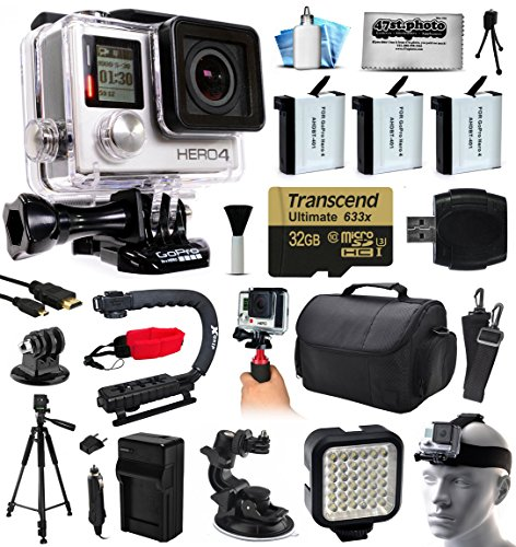 GoPro Hero 4 HERO4 Black Edition 4K Action Camera Camcorder with 32GB MicroSD, 3x Battery, Charger, Large Case, Handle, Tripod,...