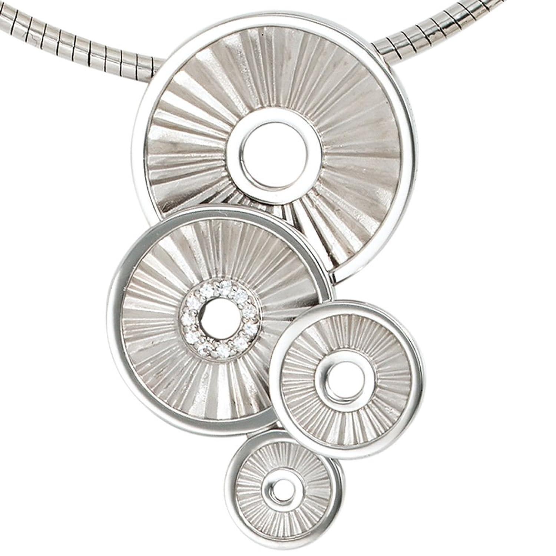 Damen Silber Anhänger aus 925 Sterling Silber rhodiniert teilmattiert 11 weiße Safire bestellen