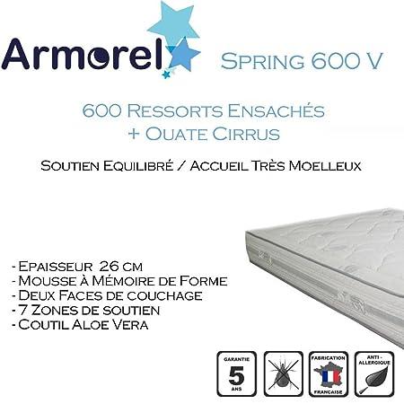 Armorel MAS6V130/220 Spring 600 Visco Matelas  Blanc 220 x 130 cm