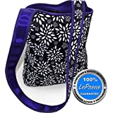 LePrene X-Large 2 Bottle Wine Bag Carrier and Insulated Lunch Bag Tote For Women. Cute, Durable PREMIUM Neoprene Purse Handbag With Crossbody Shoulder Strap Keeps Food Drinks Colder Longer