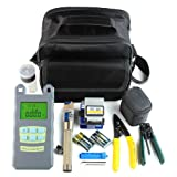 Enshey Fiber Optic FTTH Tool Kit FTTH Assembly Optical Fiber Termination Tool Kit with FC-6S Cleaver Optical Power Meter 5km Visual Fault Locator Finder Cable Cutter Stripper