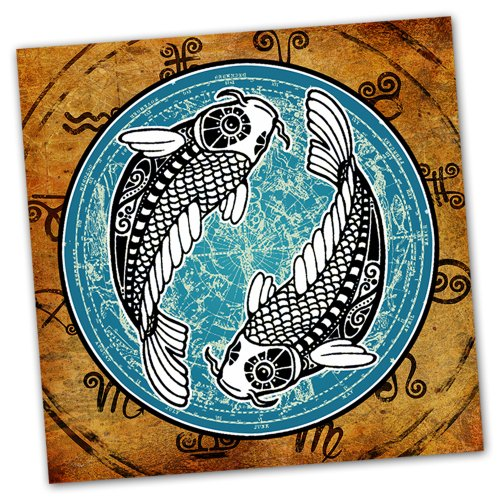 16x16-Pisces-Zodiac-Grunge-Stretched-Canvas