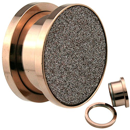 Sandpaper Texture Rose Gold Screw on Surgical Steel Ear Plugs (2G=6MM) (2g Fancy Plugs compare prices)