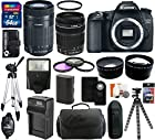 Canon EOS 70D 20.2 MP Digital SLR Camera Body with Dual Pixel CMOS AF and EF-S 18-135mm f/3.5-5.6 IS STM Kit + Canon EF-S 55-250mm f/4.0-5.6 IS STM Telephoto Zoom Lens + 64GB Card + Flash + Tripod + Battery and Charger + Case + Filter Kit + Hand Grip + Shutter Release + Accessories Bundle