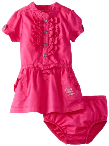 Calvin Klein Baby-girls Infant Dress with Panties, Pink, 12 Months