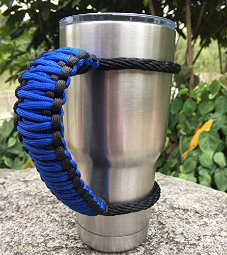 Handle for Yeti/Rtic/Ozark Trail Rambler 30 Oz Tumbler, Handmade Paracord Handles Fits Sic Cup and Many Brand Tumblers.(Blue/Black, 30oz)
