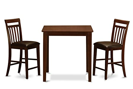 East West Furniture VNEW3-MAH-LC 3-Piece Counter Height Dining Table Set, Mahogany Finish