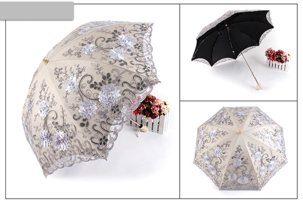 Honeystore Vintage Lace UV Sun Parasol Two Folding 3D Flower Embroidery Umbrella 4