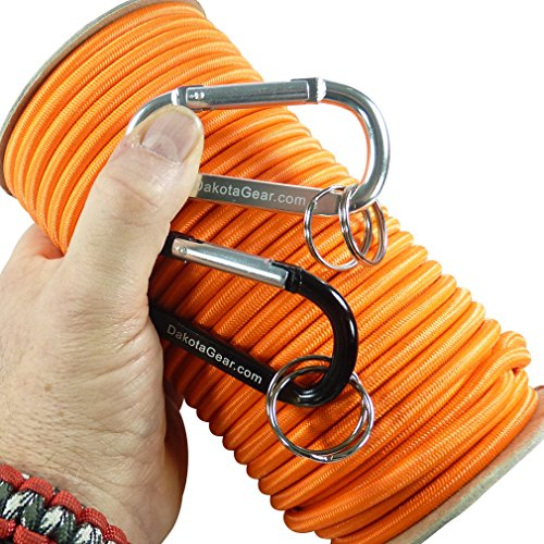 """Shock Cord - ORANGE 1/4"""" x 25 ft. Spool. Marine Grade, with 2 Carabiners & Knot Tying eBook. Also called"""