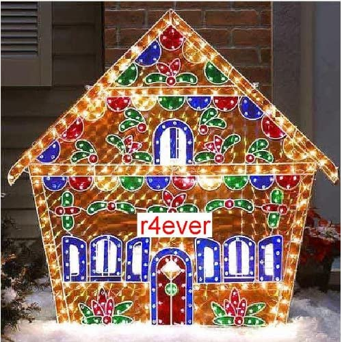 Holographic lighted gingerbread house for Outdoor lighted decorations