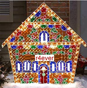 Holographic lighted gingerbread house for Amazon christmas lawn decorations