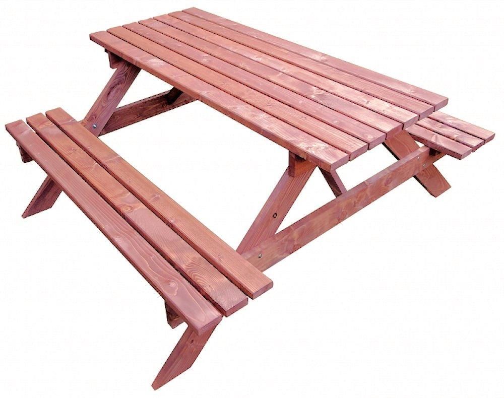 Massivholz Picknickset Sitzgruppe , Gartenbank + Gartentisch , Fb. Nuss online bestellen