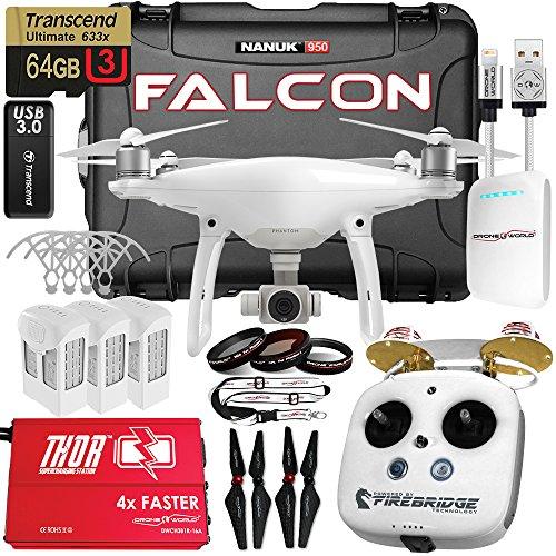 DJI-Phantom-4-Falcon-Edition-White-Kit-w-Firebridge-Long-Range-System-Nanuk-950-Wheeled-Case-3-Batteries-Thor-Charger-Carbon-Fiber-Props-Guards-Phantom4-Pro-Lens-Filters-64GB-Card