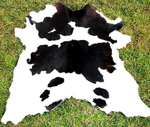 Black and White Calf Hide Cowhide Rug Cow Hide Skin Leather Area Rug