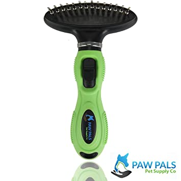 Paw Pals 2 in 1 Deshedding Tool w/ Shed Blade & Rake - Shedding Brush for Dogs & Cats of All Sizes & Fur Length - Hair Remover to Alleviate Allergies by Reducing 95% Dander & Undercoat - Quality Pet Grooming Supplies