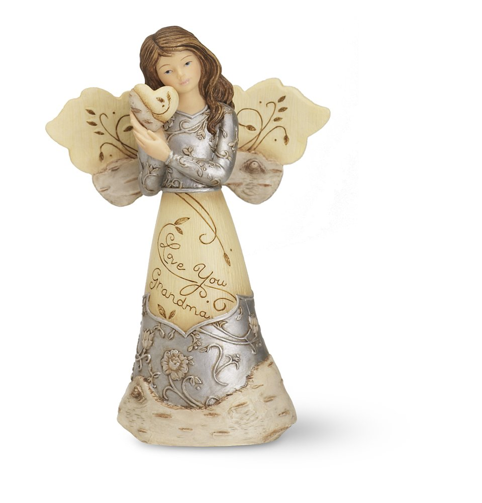 Elements Love You Grandma Angel Figurine by Pavilion, Holding Heart, 5-1/2-Inch – Grandma Gifts