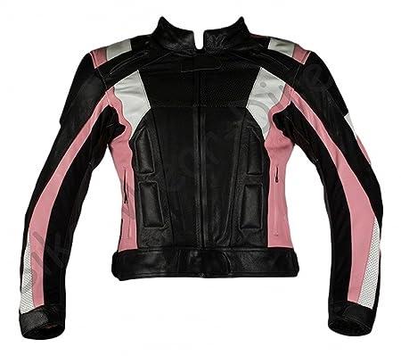 Qualité dames rose / noir moto Veste en cuir blindé