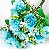 5 Head/Bouquet Artificial Begonia Crab-apple Silk Flower Bouquet (Blue)