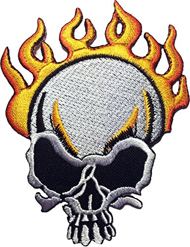 Skull Burn on Fire Motorcycles Biker Embroidered Sewing Iron on Patch (IRON-SKULL-FIRE) (Angel Blade Punish compare prices)
