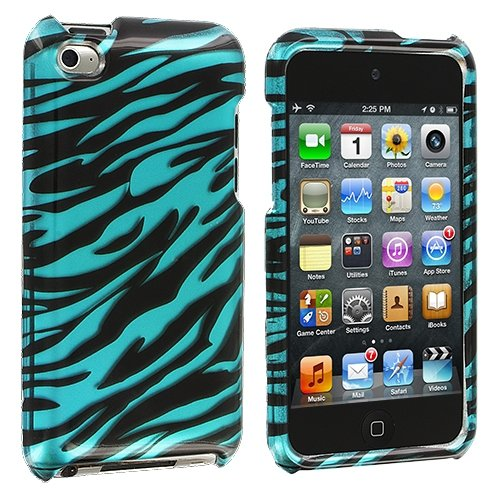Cell Accessories For Less (Tm) Black N Baby Blue Zebra Design Crystal Hard Case Cover For Apple Ipod Touch 4Th Generation + Bundle (Stylus & Micro Cleaning Cloth) - By Thetargetbuys front-988623
