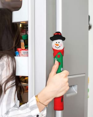 Christmas Kitchen Ornament Refrigerator Oven Door Handle Cover Xmas Decor Set