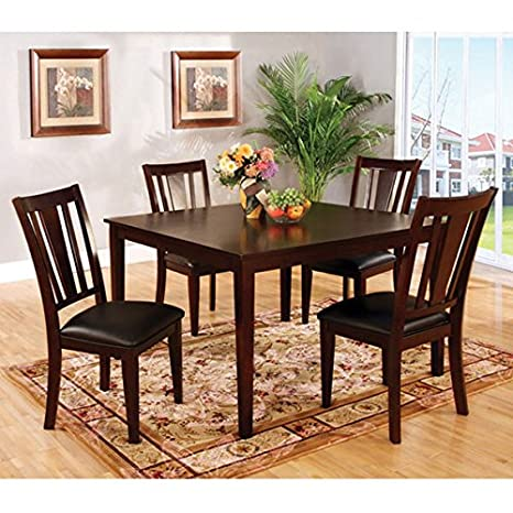 Bridgette Transitional Style 5-Piece Espresso Finish Dining Table Set