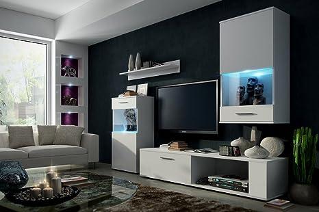 ANNE Moderno Conjunto De Muebles De Salón (Blanco MAT base / Blanco MAT frente, Azul LED)